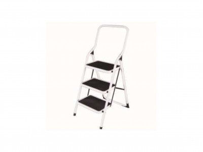 Steel Ladder High Handle White 3 Step 100kg