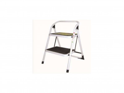 Steel Ladder White 2 Step 100kg